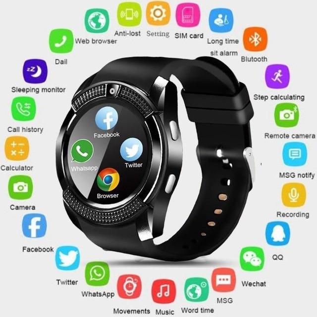 Умные часы V8 мужские спортивные Bluetooth женские наручные часы Rel gio Смарт-часы с камерой слот для sim-карты Android телефон PK DZ09 Y1 A1