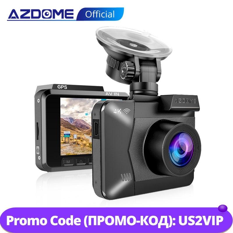 AZDOME M06 WiFi Встроенный gps двойной объектив FHD 1080 P передняя + VGA камера заднего вида Автомобильный видеорегистратор 4 K видеорегистратор WDR с функцией ночного видения