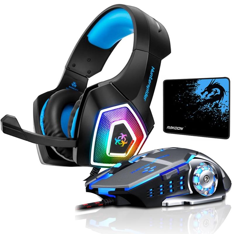 Hunterspider V1 стерео игровая гарнитура шлем объемное звучание музыки через наушники-вкладыши Наушники с микрофоном светодиодный свет для PS4 Xbox One PC