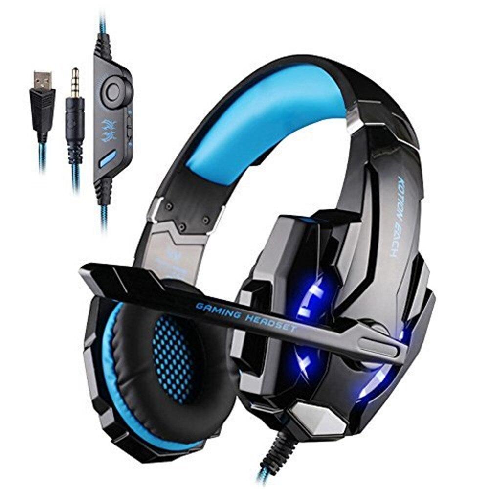 Каждый G9000 через наушники-вкладыши 3,5 мм игровая гарнитура повязка Игры наушники и наушники С микрофоном светодиодный свет для портативных ПК/PS4