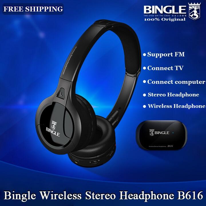 Оригинальные Bingle B616 многофункциональные стерео беспроводные наушники с микрофоном fm-радио для MP3 PC tv Аудио телефонов