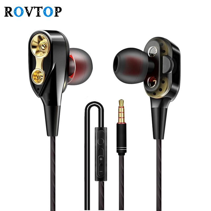 Rovtop проводные наушники высокий бас dual drive стерео наушники плотно прилегающие к уху, С микрофоном компьютерные наушники для мобильного телефона, Z2