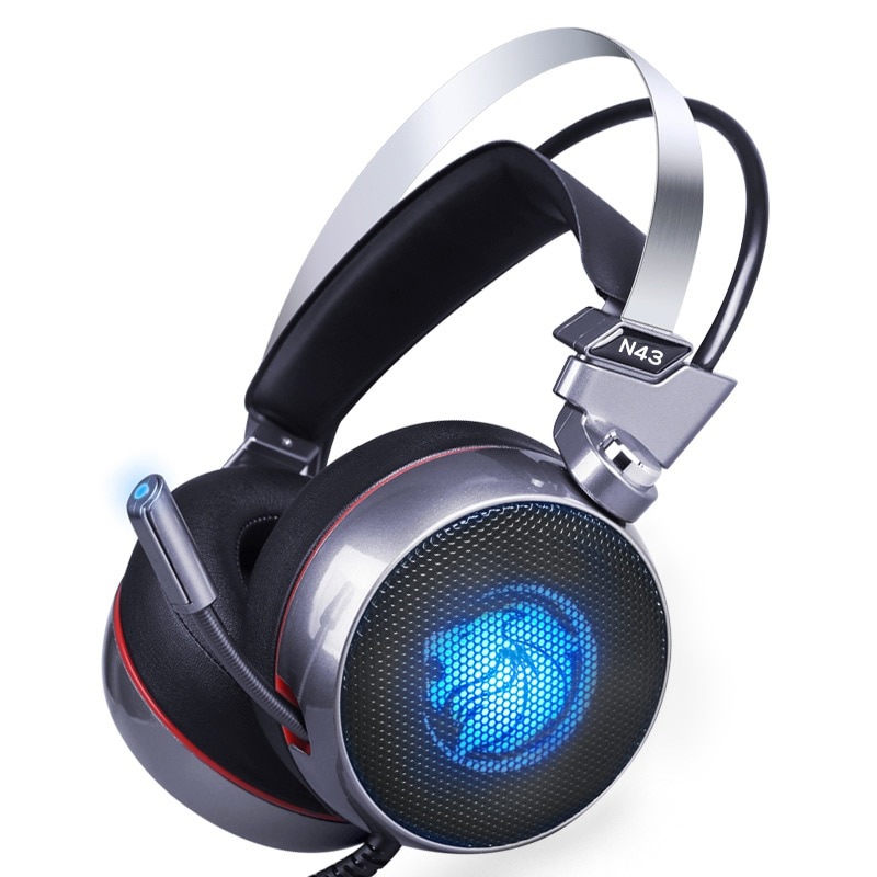 ZOP N43 стерео игровая гарнитура 7,1 виртуального объемного бас Игровые наушники с микрофоном светодиодный свет для компьютера ПК геймер