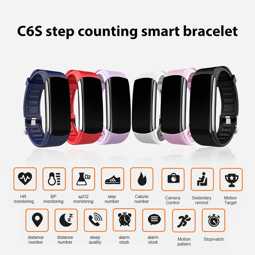 Фитнес браслет C6S с пульсометром и тонометром|Смарт-браслеты| | АлиЭкспресс